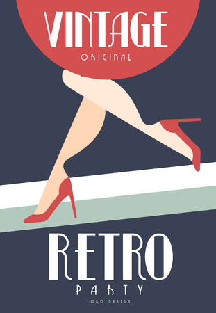 Vintage retro party original design, element with female legs in red shoes on high heels for poster, banner, flyer, card, brochure, invitation card vector Illustration Foto de archivo - 103177632