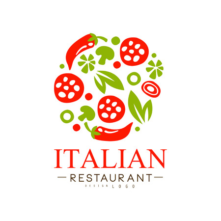 Italian restaurant  design, authentic traditional continental food label vector Illustration i on a white background
