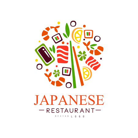 Japanese restaurant   design, authentic traditional continental food label vector Illustration on a white background