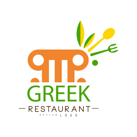 Greek restaurant  design, authentic traditional continental food label vector Illustration i on a white background