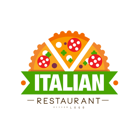 Italian restaurant  design, authentic traditional continental food label vector Illustration on a white background