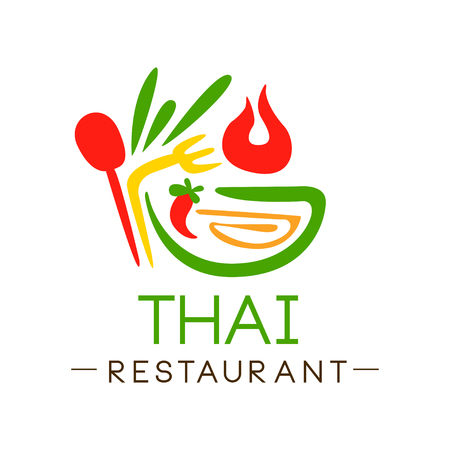Thai restaurant  design, authentic traditional continental food label vector Illustration on a white background