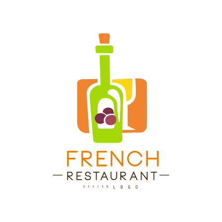 French restaurant  design, authentic traditional continental food label vector Illustration on a white background