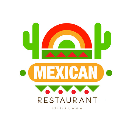 Mexican restaurant design, authentic traditional continental food label can be used for cafe, bar, restaurant, menu vector Illustration