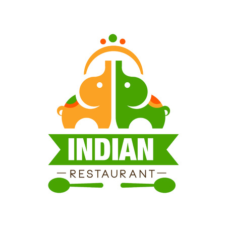 Indian restaurant design, authentic traditional continental food label can be used for cafe, bar, restaurant, menu vector Illustration