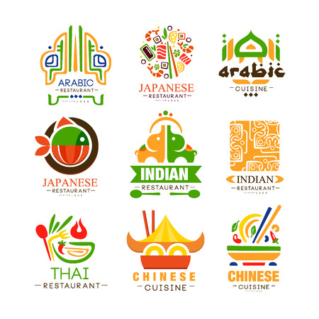 Continental cuisine design set, Arabic, Japanese, Thai, Chinese, Indian authentic traditional continental food labels vector Illustrations  イラスト・ベクター素材
