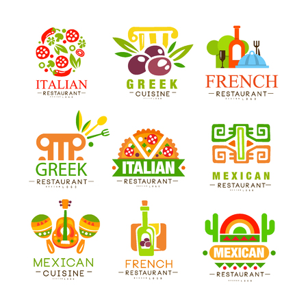 Continental cuisine design set, Italian, Greek, French, Japanese, Mexican authentic traditional continental food labels vector Illustrations