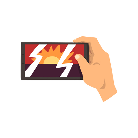 Hand making smartphone photo of sunset, snapshot with smartphone vector Illustration on a white background Иллюстрация