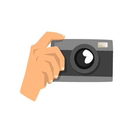 Hand taking photo with camera vector Illustration on a white background Stock Vector - 103875654