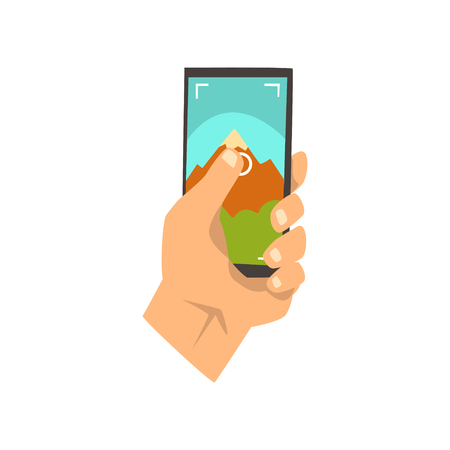 Hand making smartphone photo of natural landscape, snapshot with smartphone vector Illustration on a white background Ilustração