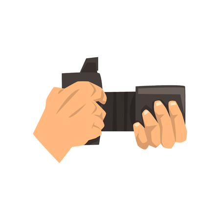 Hands holding photo camera vector Illustration on a white background