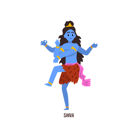 Shiva Indian God cartoon character vector Illustration on a white background