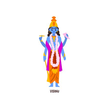 Vishnu Indian God cartoon character vector Illustration on a white background