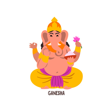 Ganesha Indian God cartoon character vector Illustration on a white background