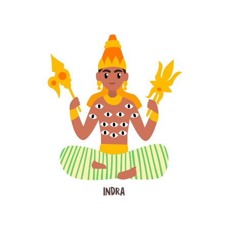 Indra Indian God vector Illustration on a white background
