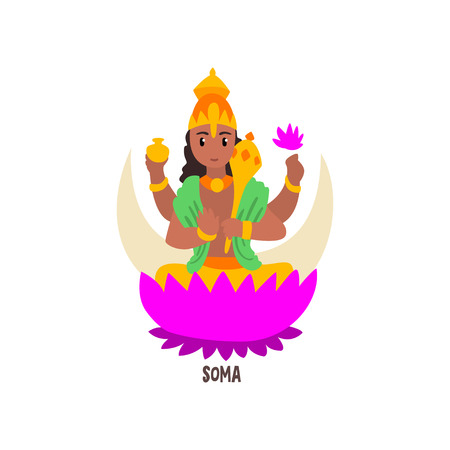 Soma Indian God cartoon character vector Illustration on a white background
