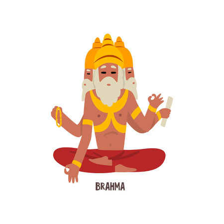 Brahma Indian God cartoon character vector Illustration on a white background