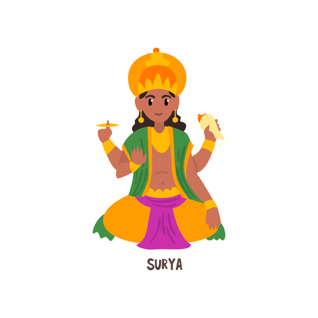 Surya Indian God cartoon character vector Illustration on a white background Иллюстрация
