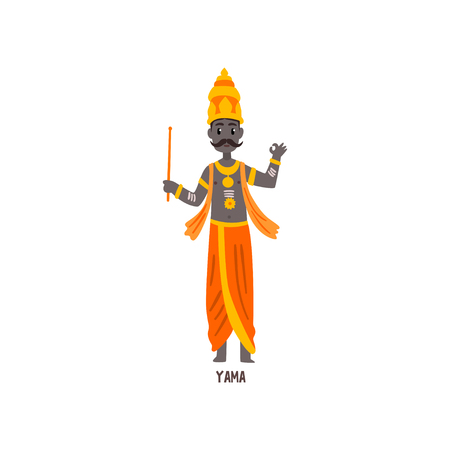 Yama Indian God cartoon character vector Illustration on a white background