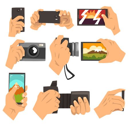 Hand taking pictures with smartphone and camera set vector Illustrations on a white background Illustration