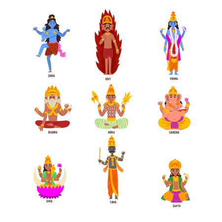 Indian Gods set, Shiva, Igny, Vishnu, Ganesha, Indra, Soma, Brahma, Surya, Yama god cartoon characters vector Illustrations on a white background Çizim