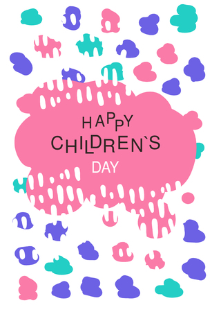 Happy childrens day, colorful template for placard, invitation, poster, banner, card, flyer vector Illustration