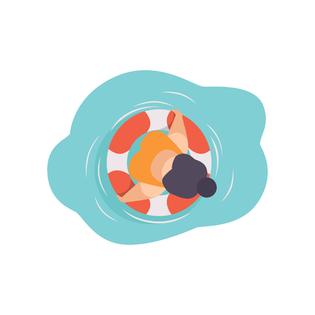Young woman in sunglasses resting on floating inflatable ring, top view vector Illustration on a white background Ilustração