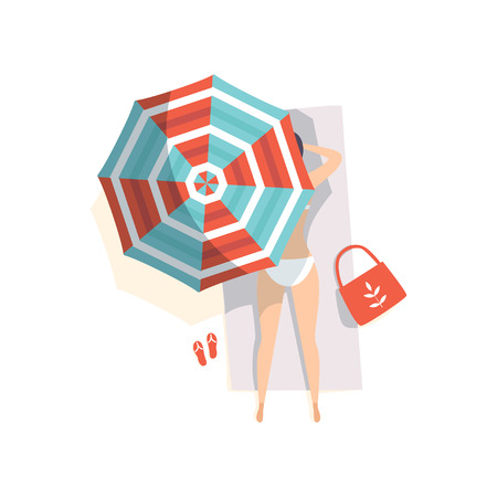 Young woman sunbathing on the beach under umbrella, top view vector Illustration on a white background
