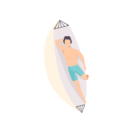 Young man lying on hammock and sunbathing on the beach, top view of lying guy vector Illustration on a white background Иллюстрация