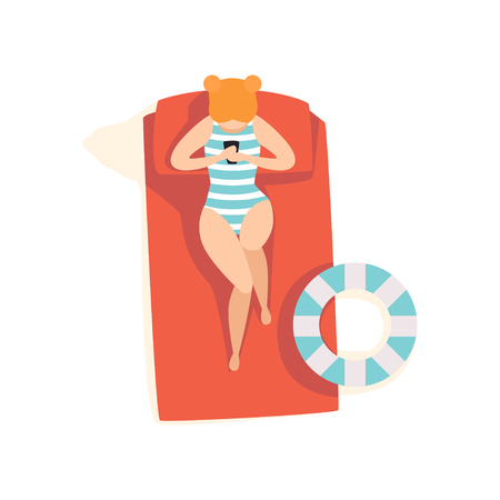 Beautiful young woman sunbathing on the beach, top view of lying girl vector Illustration on a white background Imagens - 103875737