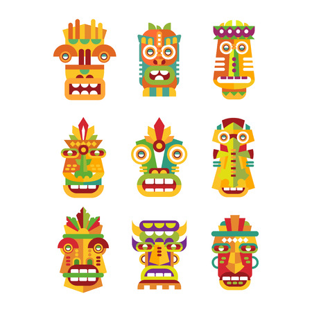 Ethnic mask set, tribal Indian or African colorful masks vector Illustrations on a white background