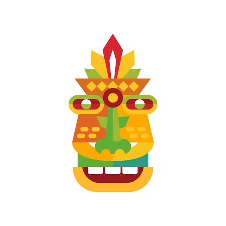 Colorful ethnic tribal ritual mask vector Illustration on a white background Stock Illustratie