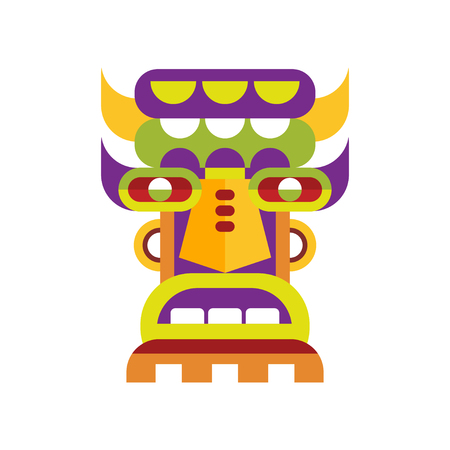 Ethnic tribal ritual mask vector Illustration on a white background