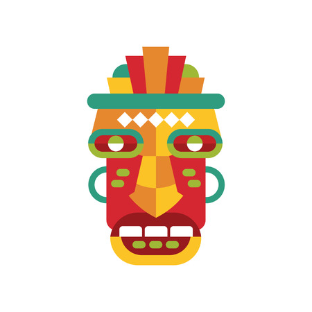 Traditional colorful tribal ritual mask vector Illustration on a white background