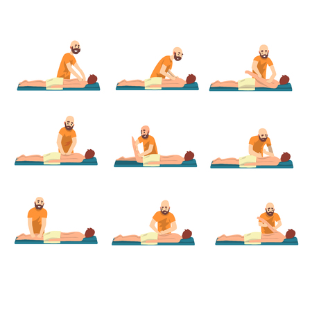Male therapist doing back massage to young man set, rehabilitation care and physiotherapy treatments vector Illustrations on a white background