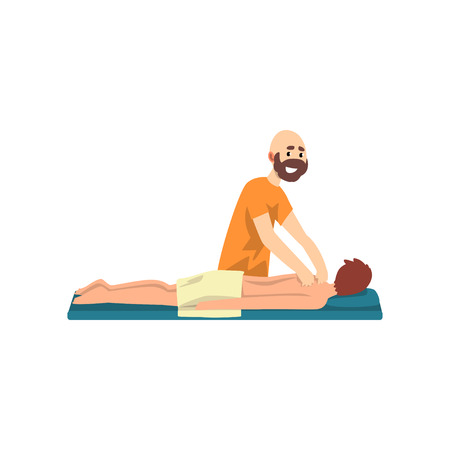 Young man on massage session, rehabilitation care and physiotherapy treatments vector Illustration on a white background