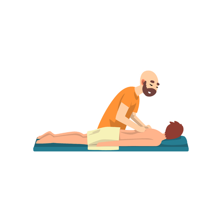 Male therapist doing massage to young man, rehabilitation care and physiotherapy treatments vector Illustration on a white background Illustration