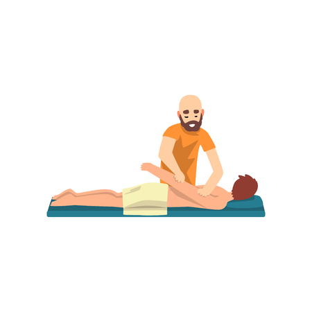 Male therapist doing back massage to young man, rehabilitation care and physiotherapy treatments vector Illustration on a white background Standard-Bild - 103875754