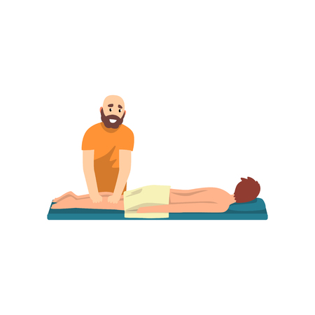 Male therapist doing leg massage to young man, rehabilitation care and physiotherapy treatments vector Illustration on a white background