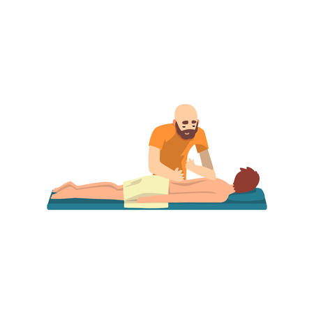 Young man on massage session, male therapist doing back massage, rehabilitation care and physiotherapy treatments vector Illustration