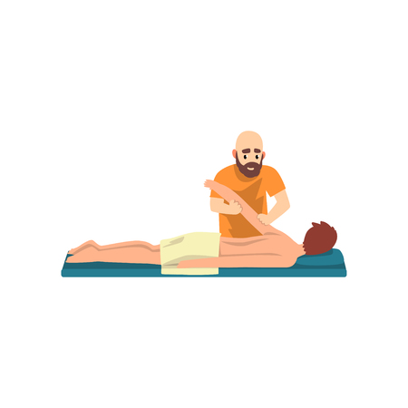 Man on massage session, male therapist doing massage, rehabilitation care and physiotherapy treatments vector Illustration Illustration