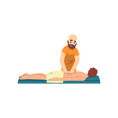 Massage therapy with man, rehabilitation care and physiotherapy treatments vector Illustration on a white background Illustration