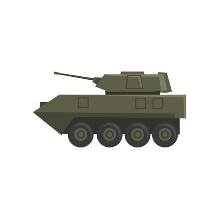 Infantry fighting vehicle, army machine, heavy, special transport vector Illustration on a white background