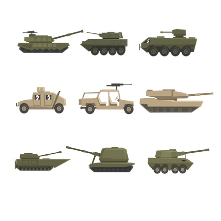 Armored army vehicles set, military heavy, special transport vector Illustrations on a white background
