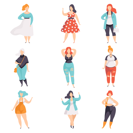 Beautiful plus size women in fashionable clothes set, curvy, overweigh girl, body positive vector Illustrations on a white background Illustration