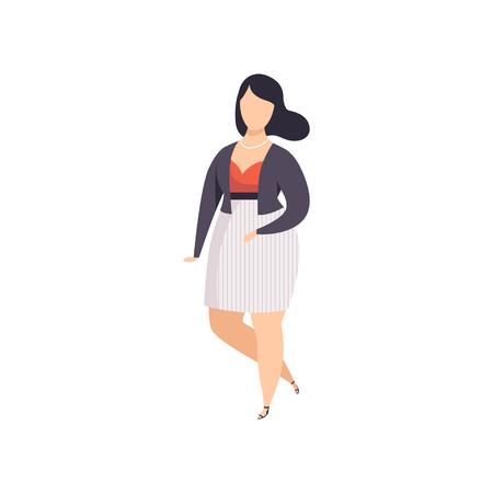 Brunette curvy, overweight girl in fashionable clothes, beautiful plus size fashion woman, body positive vector Illustration on a white background Vectores