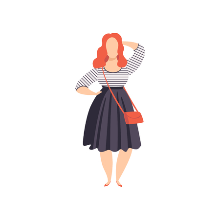 Beautiful red haired curvy, overweight girl in fashionable clothes, plus size fashion woman, body positive vector Illustration on a white background