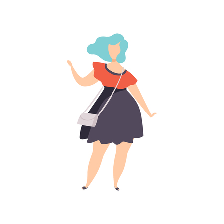 Beautiful plus size fashion woman with blue dyed hair, curvy, overweight girl, body positive vector Illustration on a white background