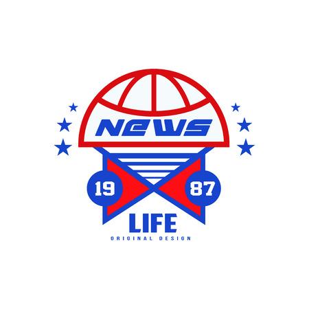 Life news original design est 1987, social mass media emblem, breaking and live news badge vector Illustration on a white background