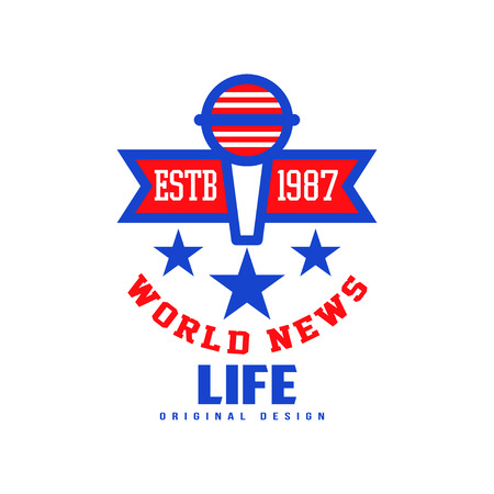 World Life news original design estb 1987, social mass media emblem with microphone, breaking and live news badge vector Illustration on a white background